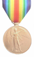 WW1 Victory (Inter-Allied) Medal Full-Sized Replica Made In Bronze Plated Pewter With Ribbon - VM
